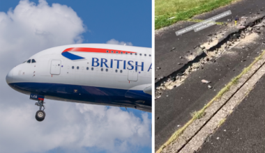 British Airways, Airbus A380, Taxiway Damage