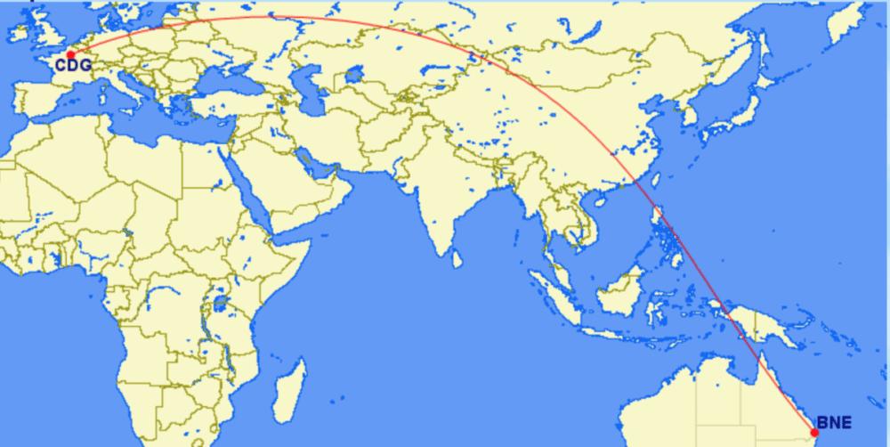 Great circle Paris to Brisbane
