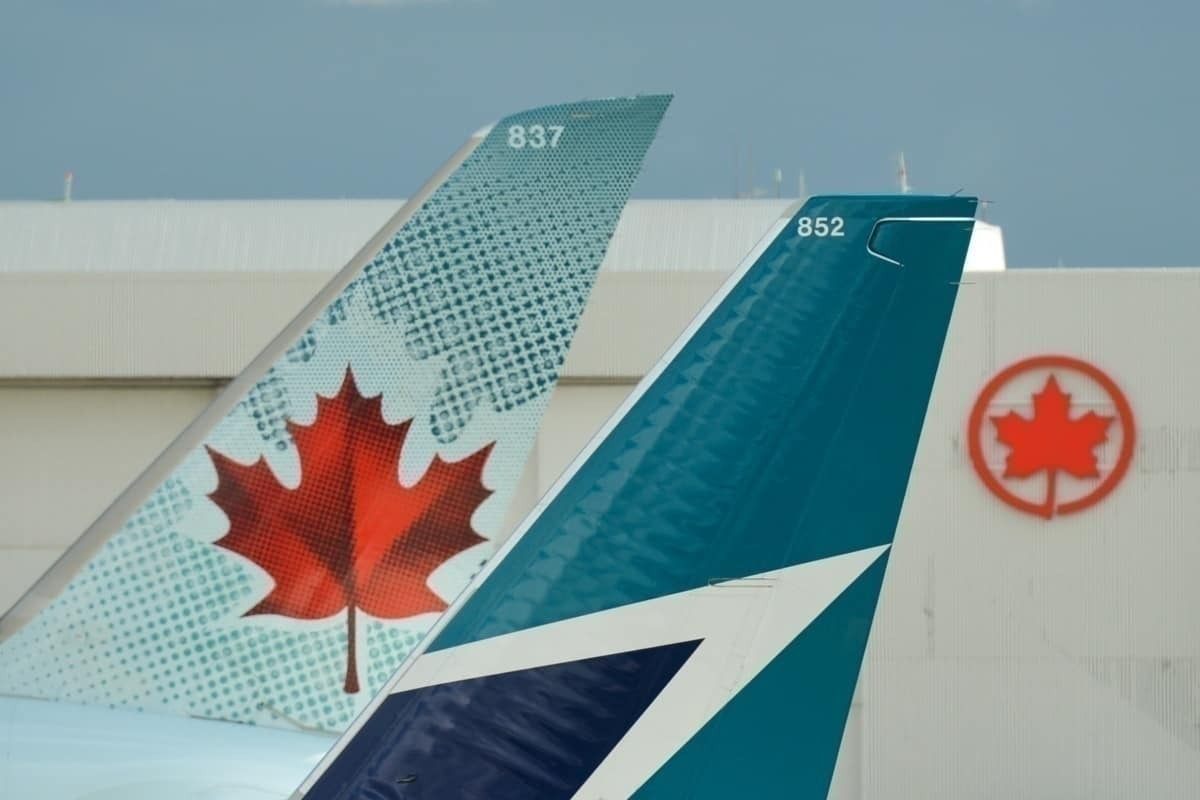 Air Canada and WestJet tails