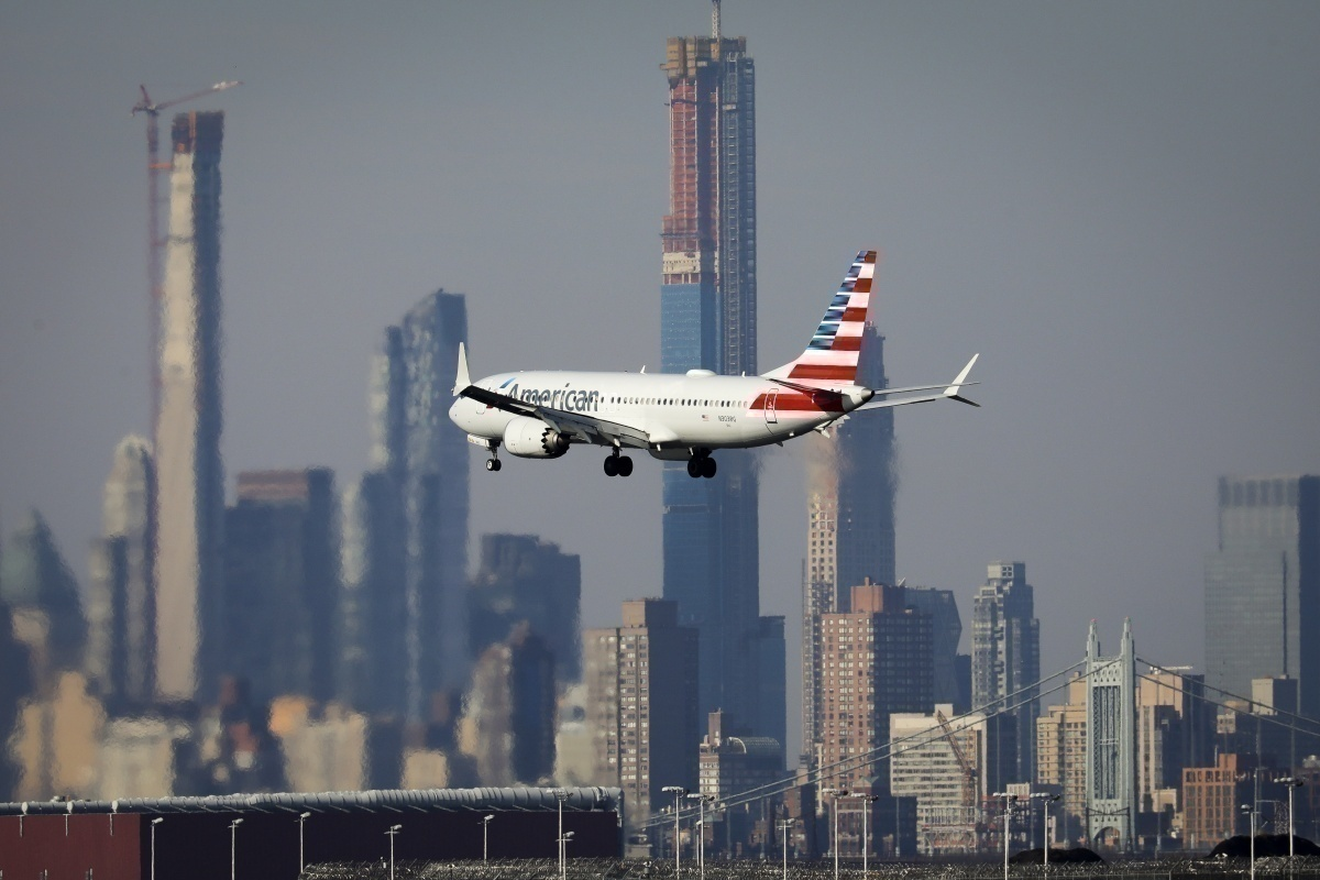 American Airlines flies over NY