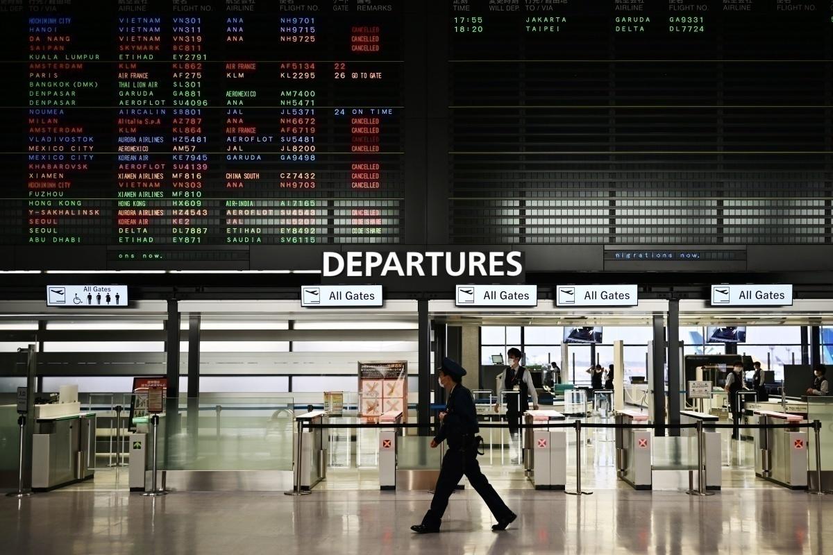 Empty departures at Narita Airport, Japan