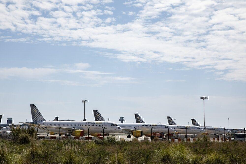 Parked Vueling planes at El Prat