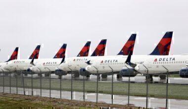 Delta air lines, runway, storage, aircraft,