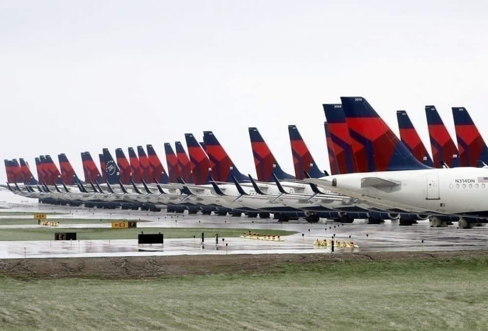 Delta Air Lines grounded planes