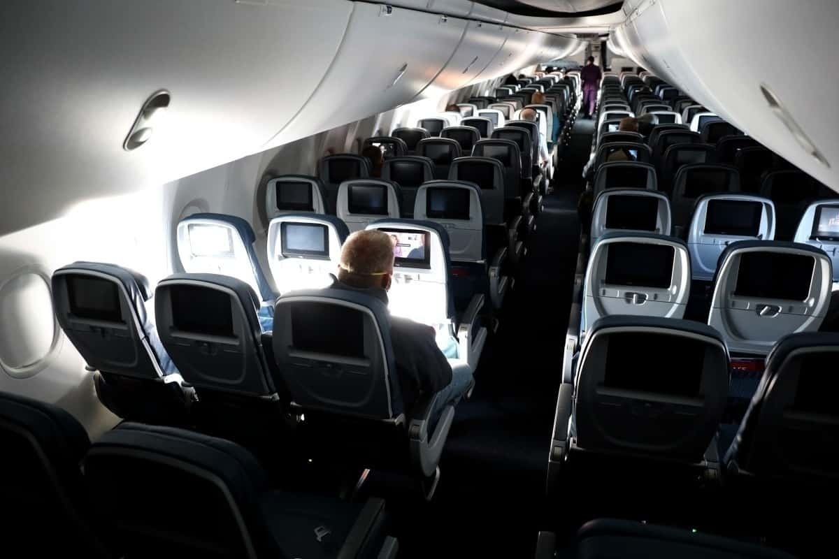 Empty plane, high view