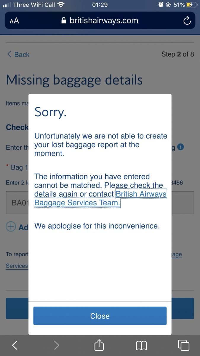 British Airways lost luggage app support