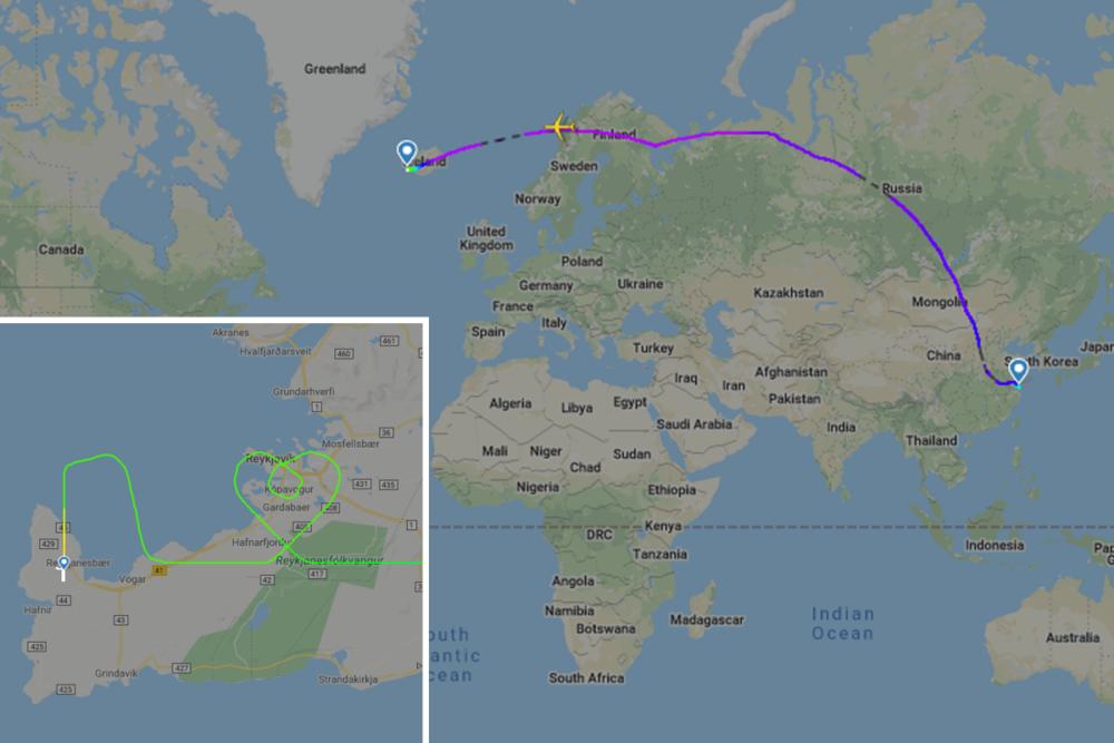 Icelandair, Boeing 767, Heart Flight Path