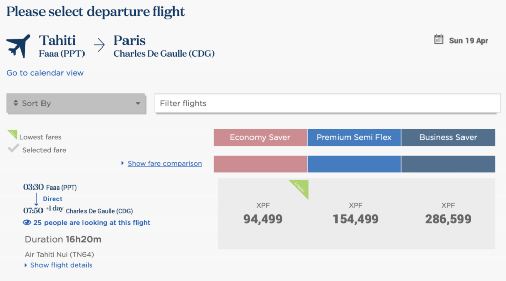 paris papeete flight cost