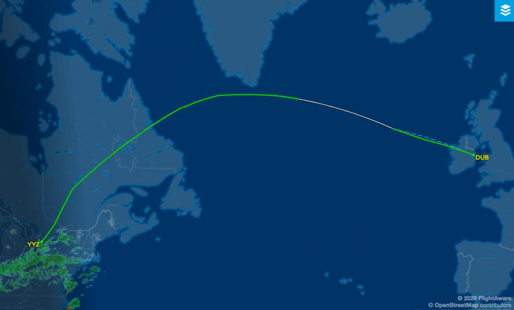 WestJet flight from Dublin to Toronto