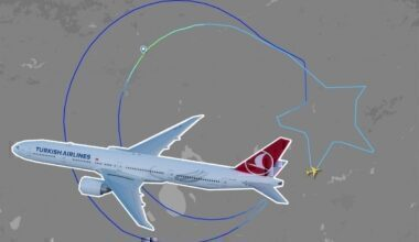 Turkish Airlines draws flag of Turkey