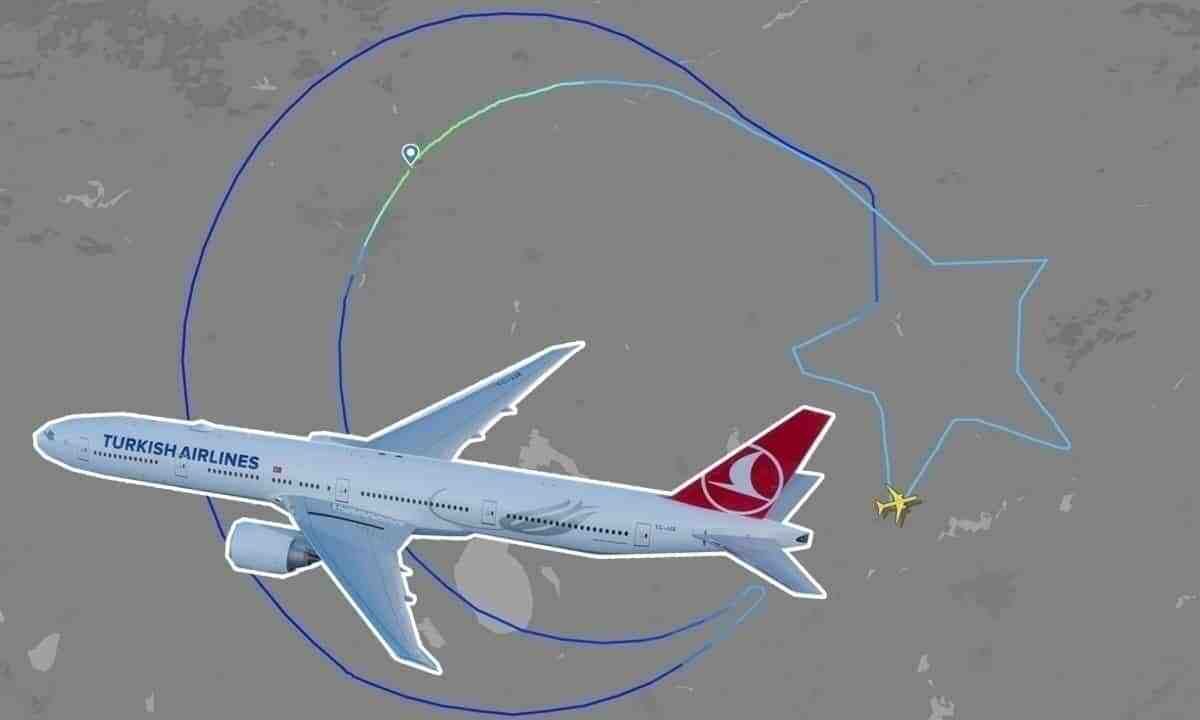 Turkish Airlines 777 Draws The Flag Of Turkey In Sky