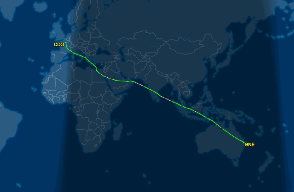 Paris to Brisbane Virgin Australia nonstop