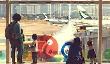 Children point at plane
