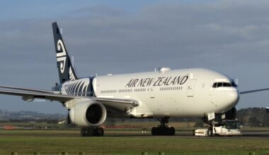 Air New Zealand 777 being towed