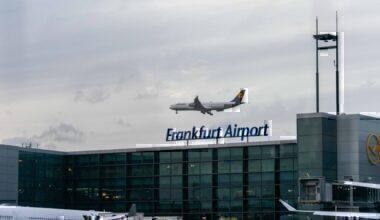 Lufthansa flies over Frankfurt airport