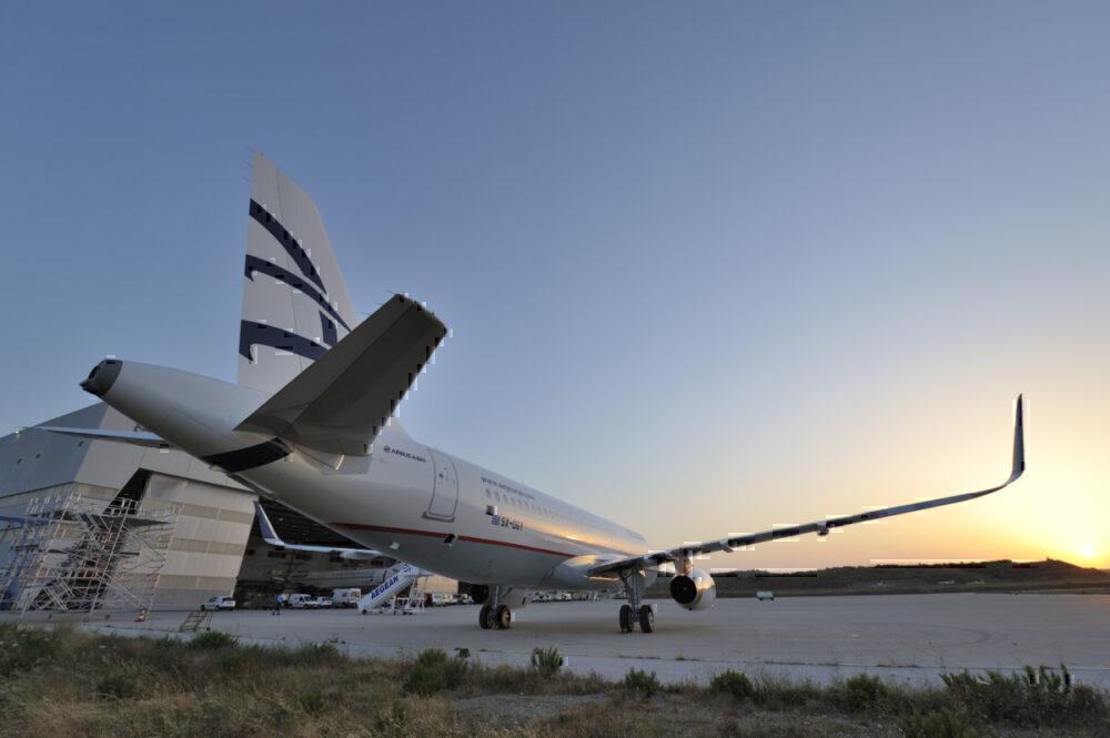 Aegean Airlines sun setting
