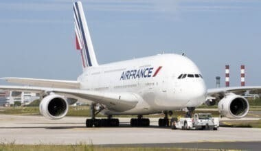 Air France A380 front side view