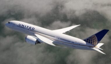 United Airlines 787 above clouds