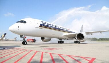 First Singapore Airlines A350 XWB arrives in Singapore 1