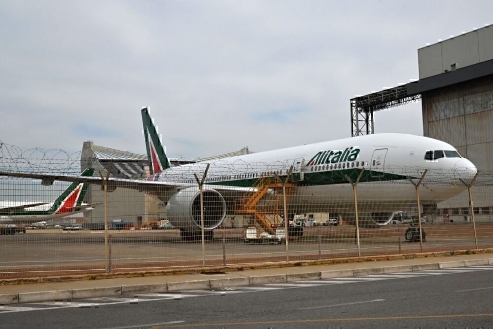 ALitalia grounded plane