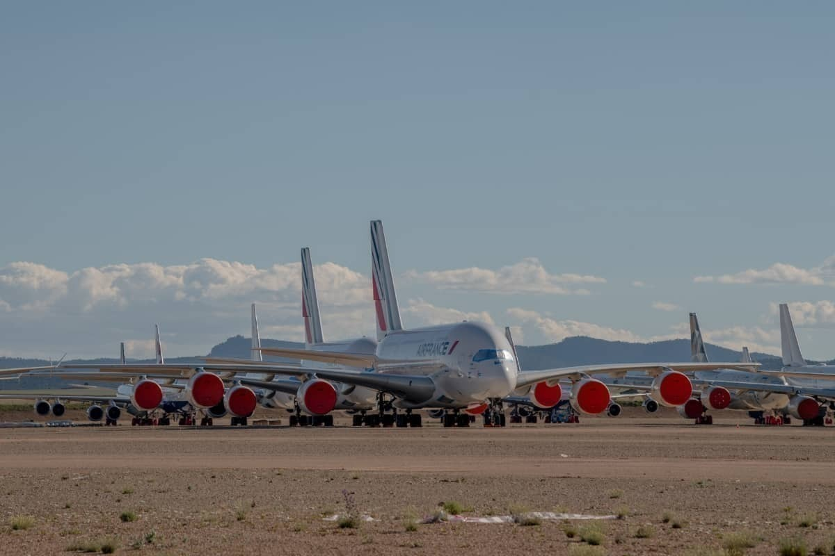 Air France A380s parked in the desert