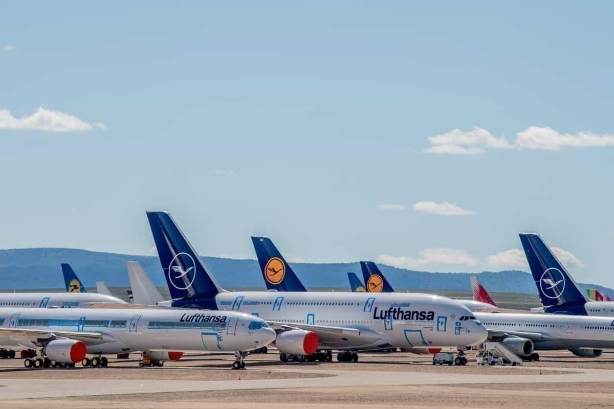 Lufthasa parked aircraft