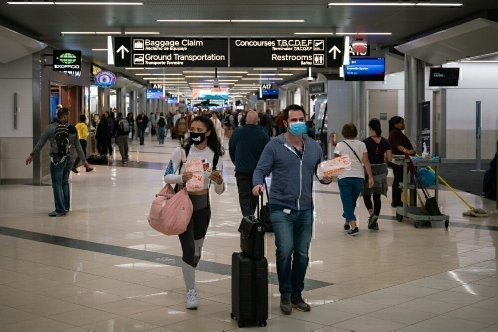 Masked travelers