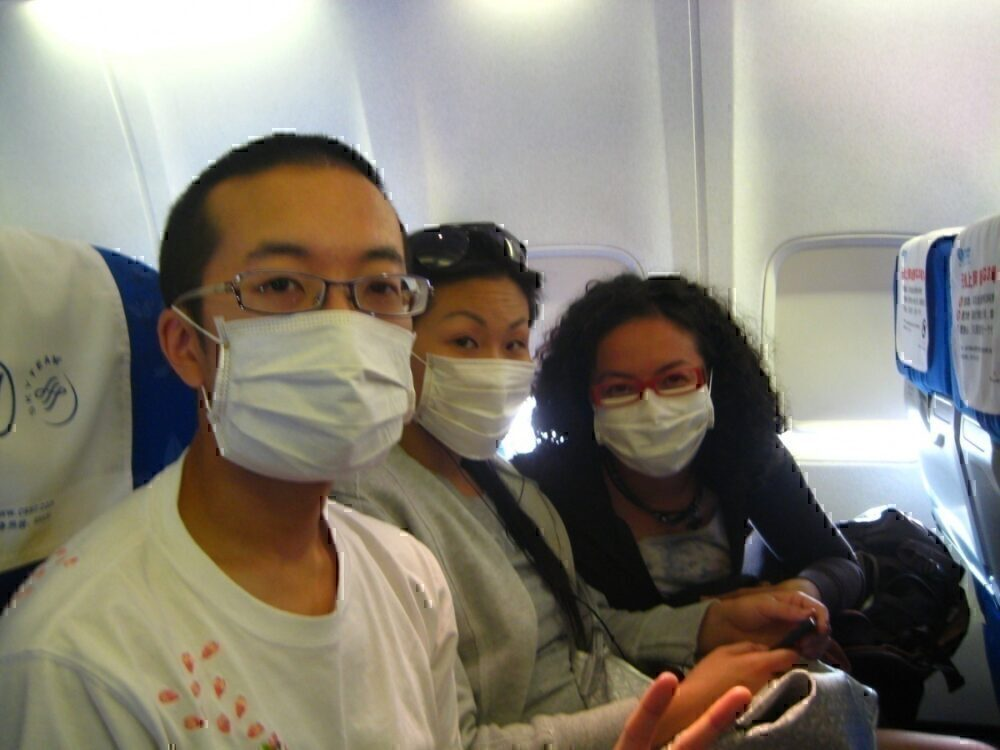 Passengers with face masks