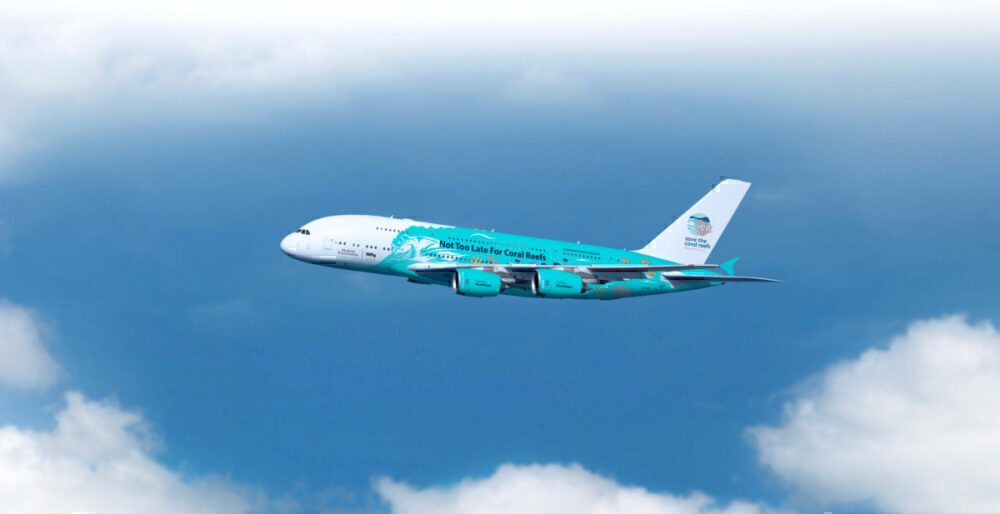 hi Fly A380, coral reef livery