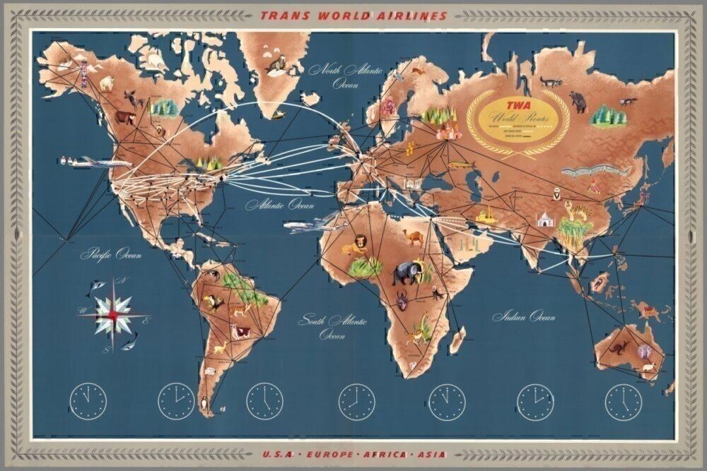 1958 TWA Route Map