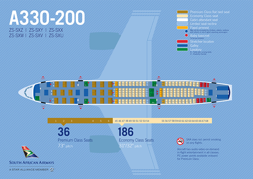 A330-200 SAA Seat map