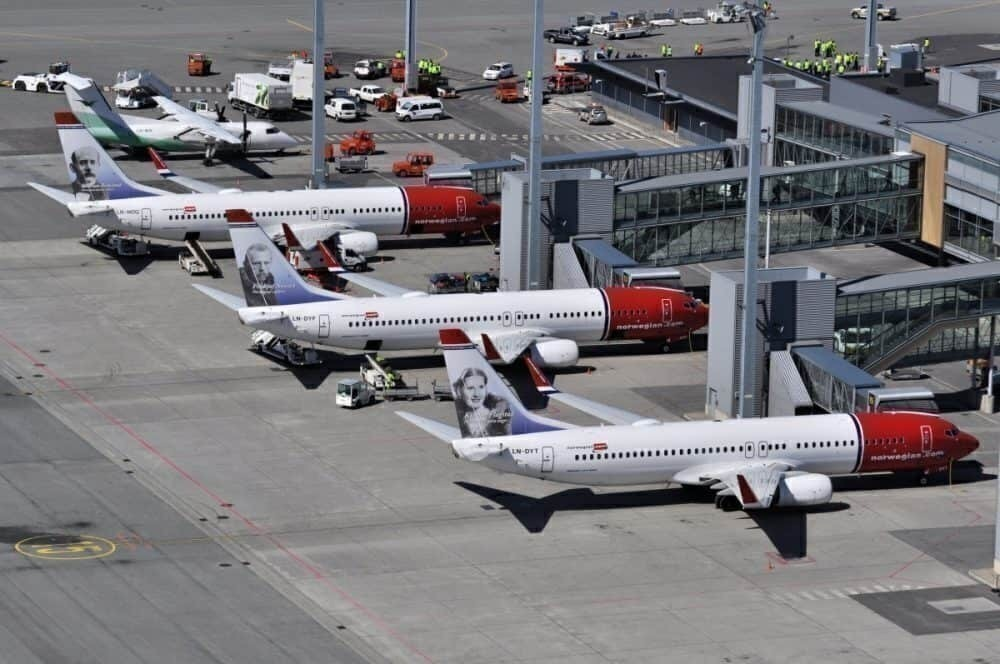 Norwegian aircraft at the terminal
