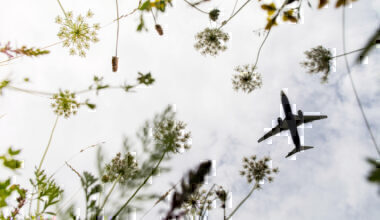 Plane flies above meadow in stansted