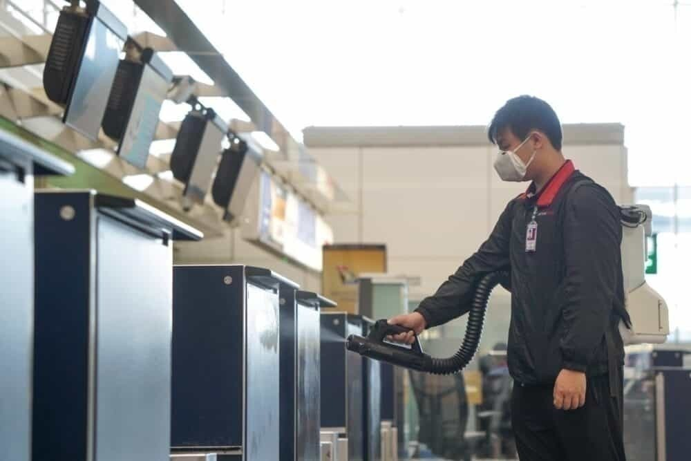 Cleaning procedures at HKIA