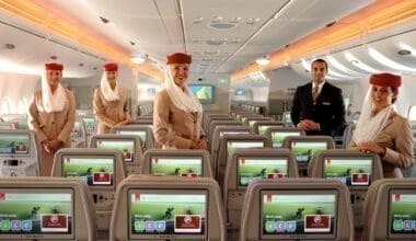 Emirates cabin crew on A380