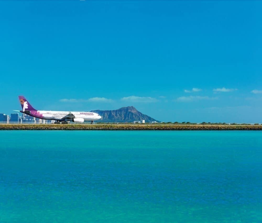 Hawaiian Airlines A330, reef runway