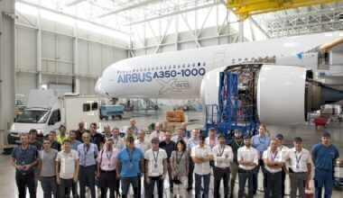 Airbus plane and employees