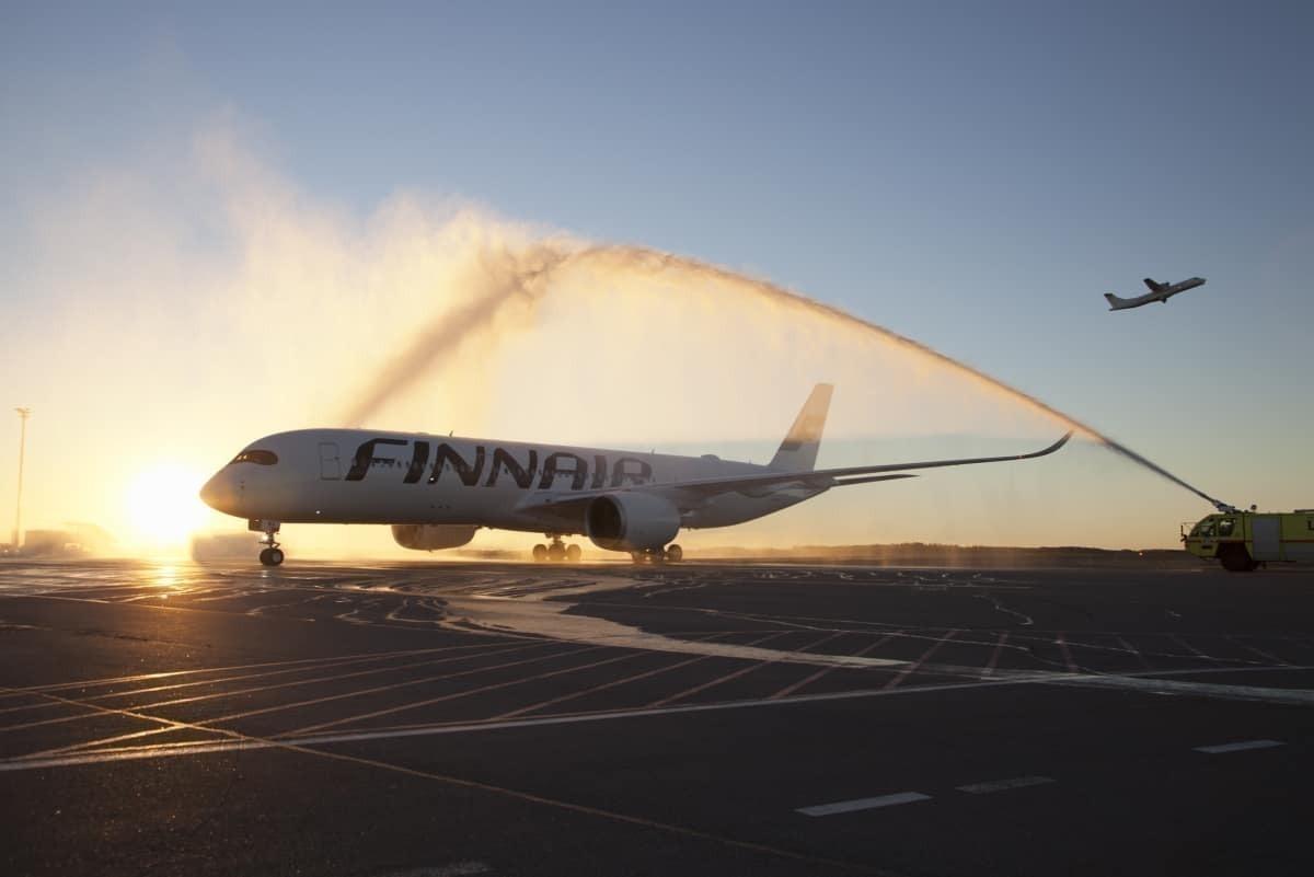 Finnair A350 with sunrise
