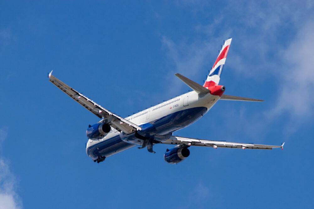 BA in flight, behind
