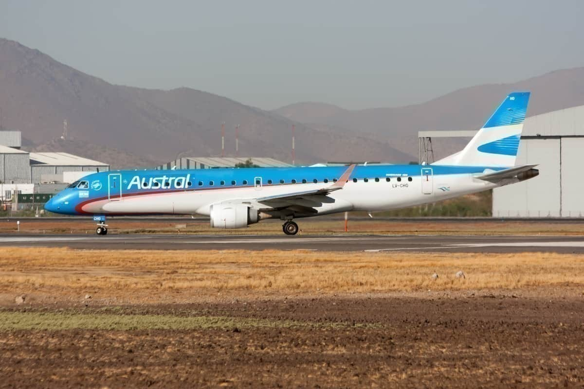 An Austral Lineas Aereas Embraer 190 seen ready to leave-getty
