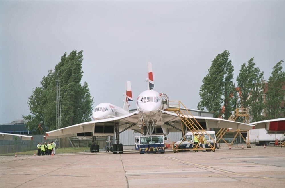 British Airways Concorde plane on ground.