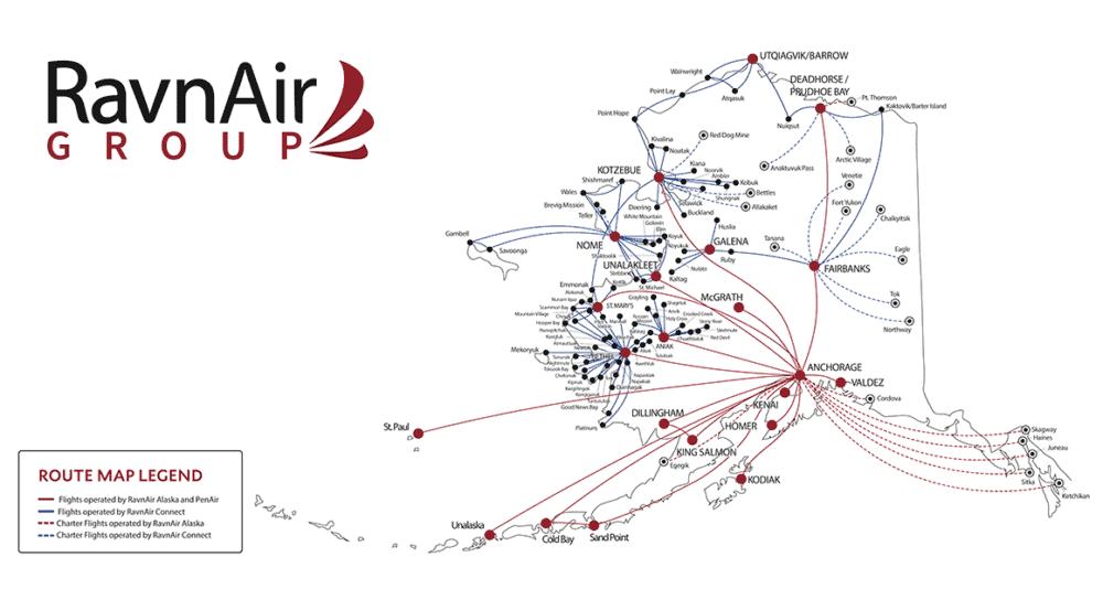 RavnAir Route map