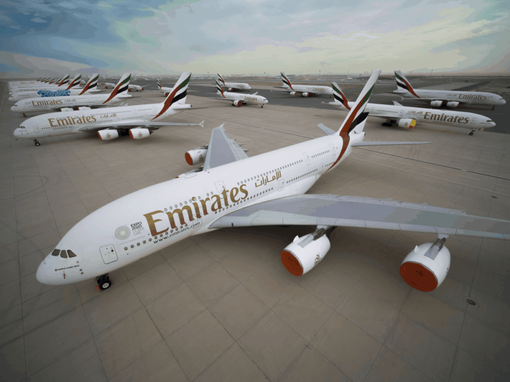Emirates aircraft stored