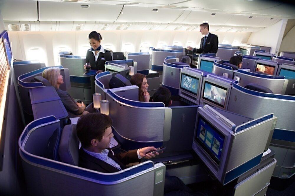 United Airlines Polaris suite, front facing