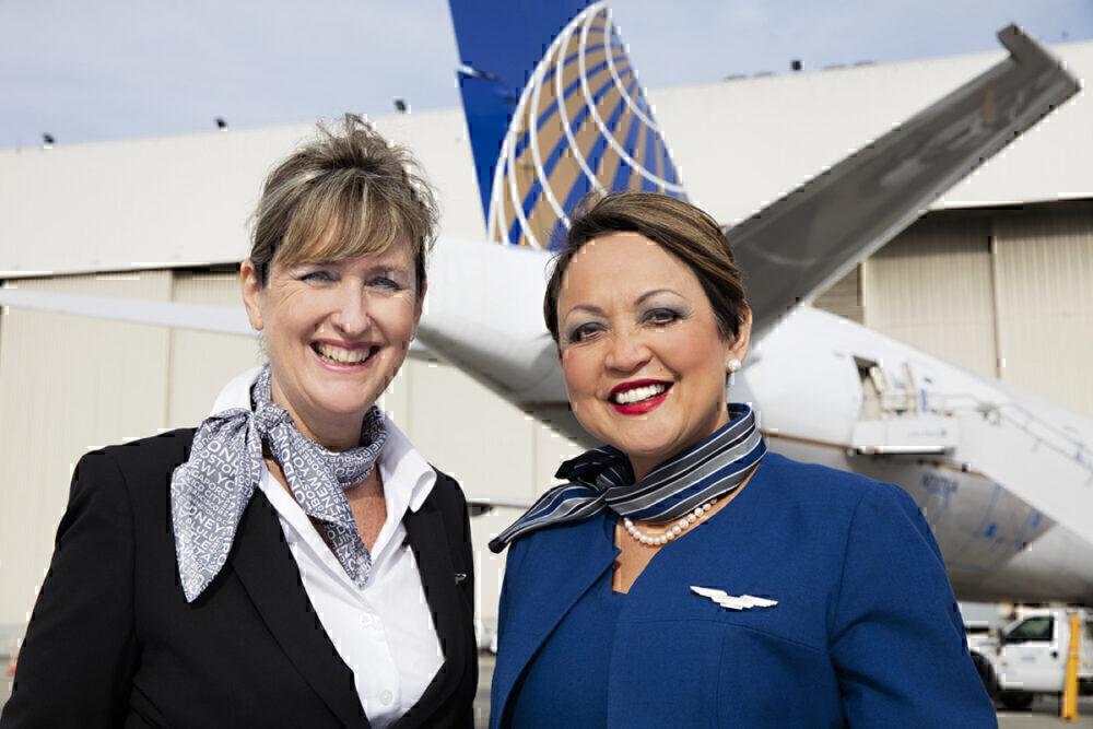 UA cabin crew smiling