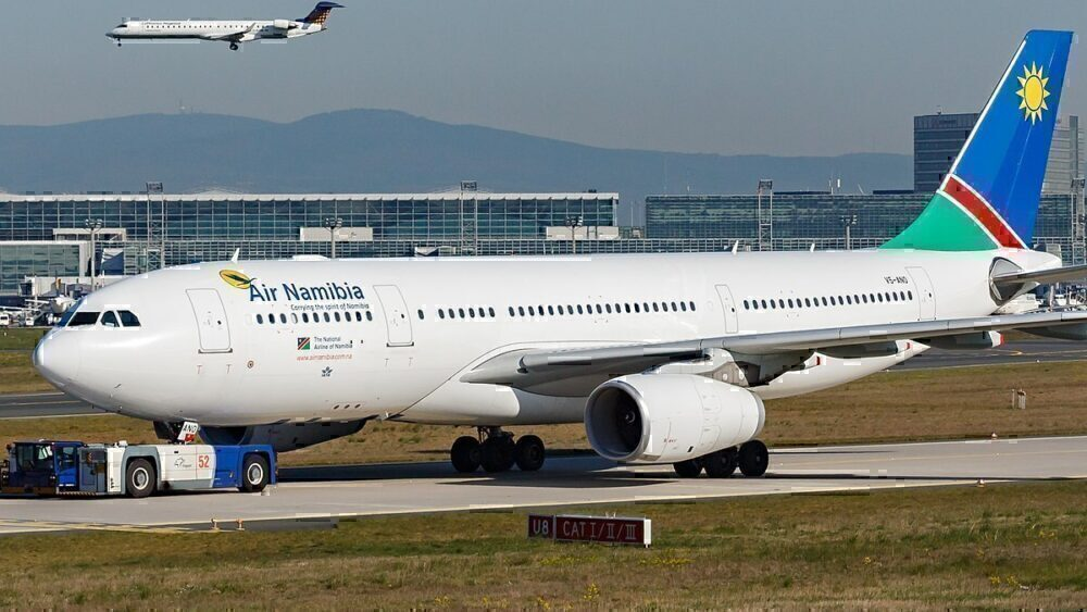 Air Namibia being towed