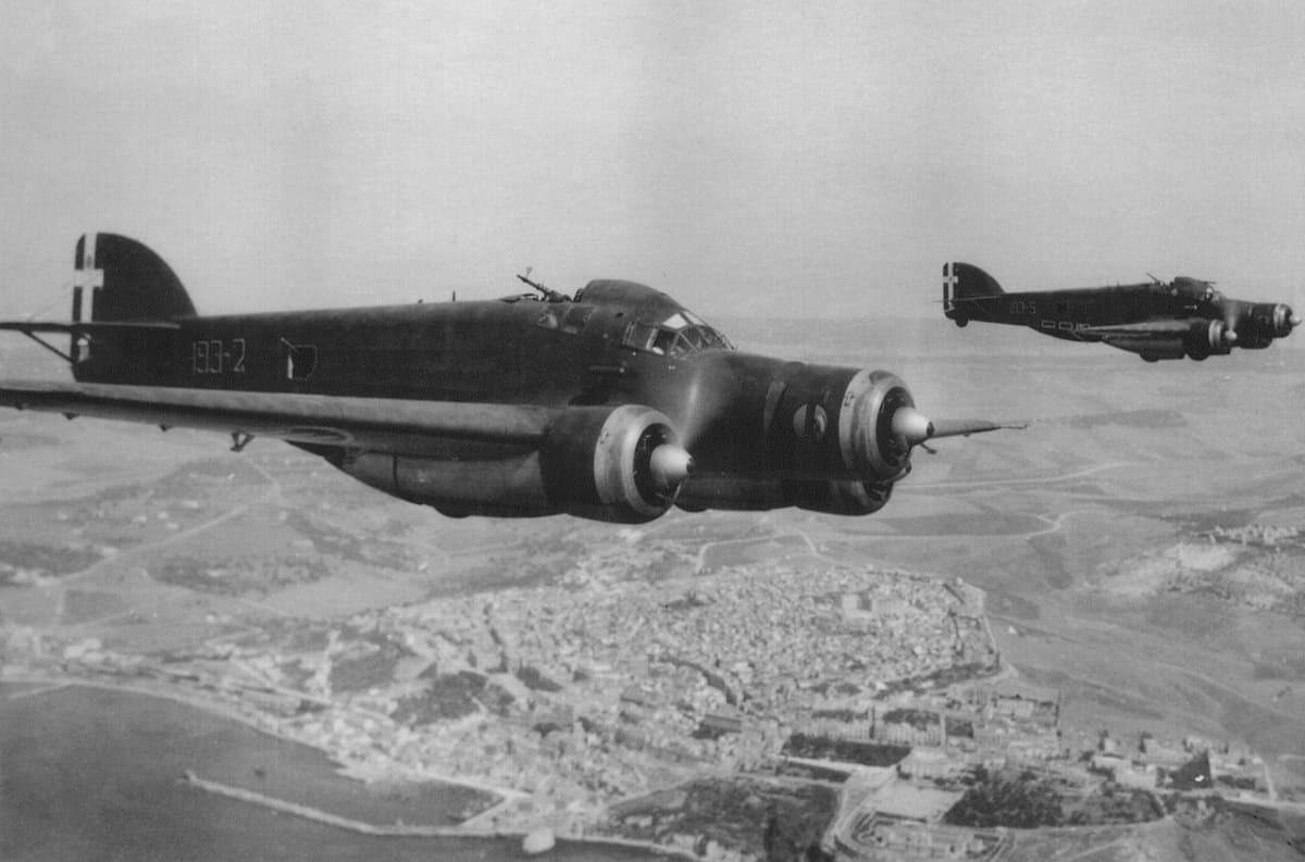 Two Savoia-Marchetti S.M.79 over Sciacca