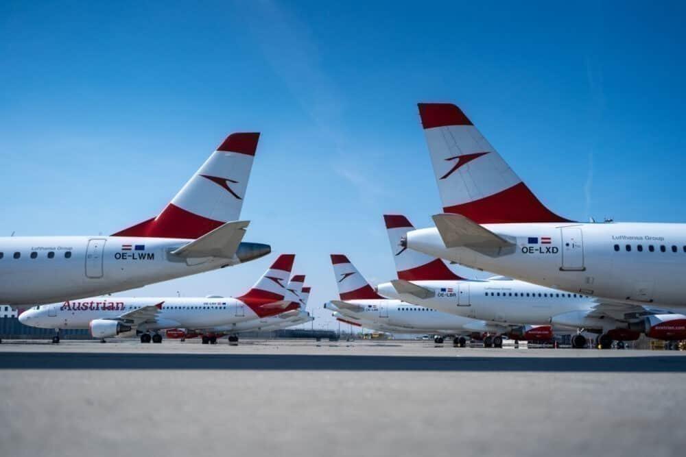 Austrian Airlines fleet parked