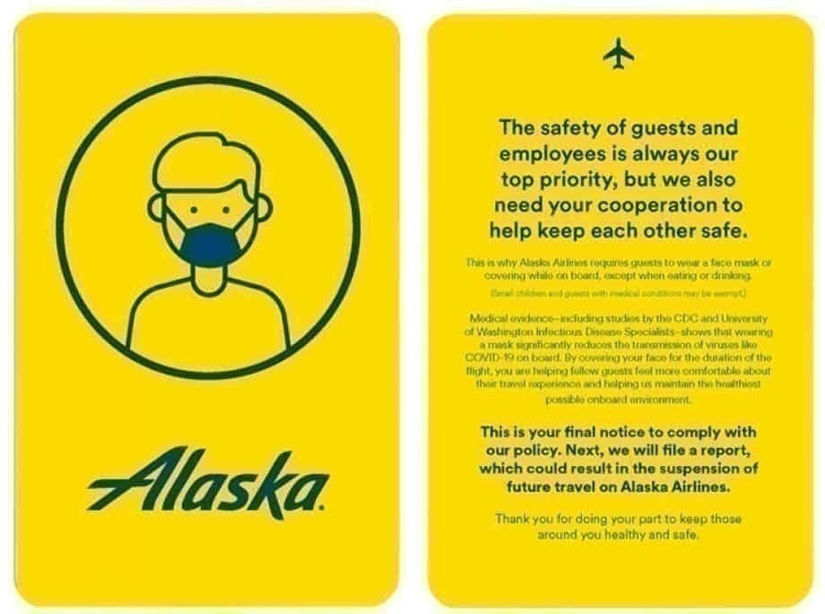 Alaska Airlines yellow card