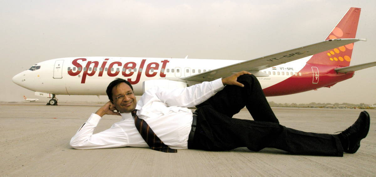 SpiceJet MD Ajay Singh in front of SpiceJet